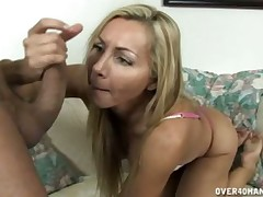 Lovely MILF Lisa Demarco gives smashing cock stroking at hand BF