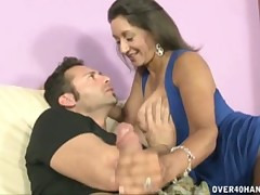 Perverted bitch Persia Minor gives excellent handjob and swallows