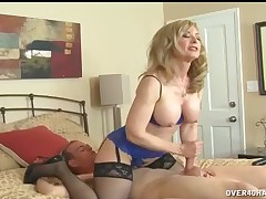 Hot MILF Nina milking huge cock for sperm dosage