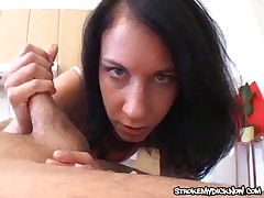 Cute brunette bitch makes hard cock explode in hands