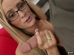 Amazing Paige Adams does very intense big cock handjob