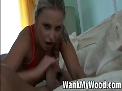 Lusty hot blonde stimulating big cock with soft hands