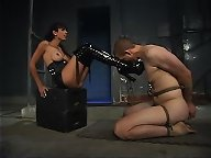 Mistress punished slave and got her feet worshipped