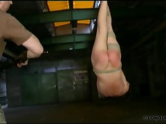 Brutal whipped Lola while her body was hanged like a ham.