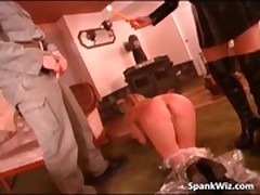 Sexy blonde gets hot ass spanked