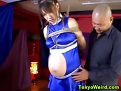 Pregnant bondage asian taunted