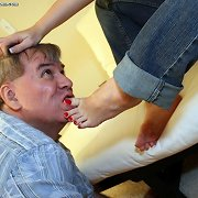 Submissive boy licked foot