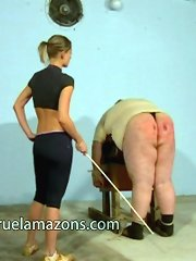 Dominatrix punished big fat boy