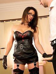 Mistress made slaveboy fuck her by strapon and gave him handjob
