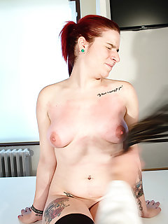 <!–-IMAGE_COUNT-–> of Handcuffed busty tess got hard bullwhipping pain