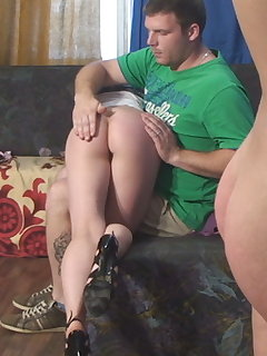 <!–-IMAGE_COUNT-–> of Painful Home OTK Spankings with Two Girls