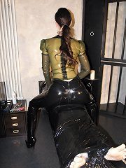 The latex domme sat on malesub
