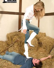 Trampling in white boots