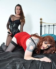 A submissive sissy getting strapon pumped hard