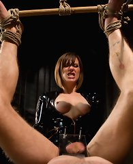 Whipping, small penis humiliation, foot licking, ass worship, CFNM, pegging and tease & denial with Maitresse Madeline and a piece of slavemeat.