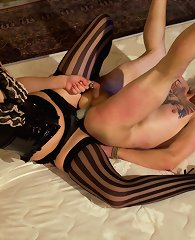 Male sub is wrestled down by beautiful domme, strap-on fucked in the ass, has his cocked milked then denied to cum!