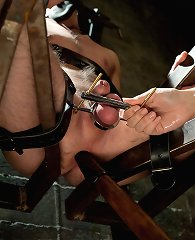 Mistress Bobbi Starr locks her cuckold slave in chastity while he\\\'s made to watch her get fucked in the ass then eat another mans cum