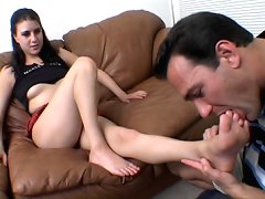 Her bare feet sucking
