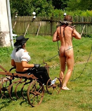 Outdoor femdom on the farm