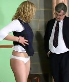 The teacher spanked slut