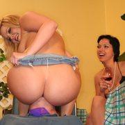 Cool blonde girl sat on slave's face
