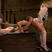 The dominatrix humiliated and teased a pantyhose slaveman