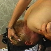Sexy bitches rig their victim into their custom made smothering throne