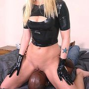 Blondy sat on black slave