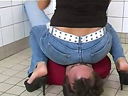 Melissa worn in jeans has sat on a slave