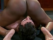 Goddess Nyomi Banxxx punishes, strap-on ass fucks and wrestles down slaveboy in leg scissor hold and plants her nice round ass around his face!