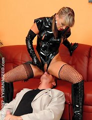 Domina jerk off to naked slave