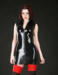 Black latex and red nylons