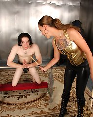 Mistress Mona catches her slave Kade praying at her altar to be let out of chastity.