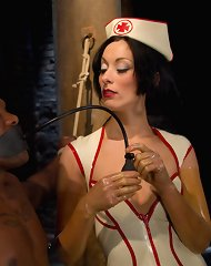 Sexy white domme tortures black slaves enormous cock with heavy whipping and CBT and teases and denies him after she cums all over it!