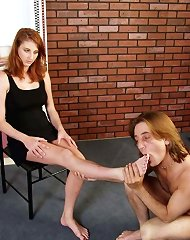Foot worship after spanking