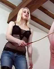 Slave caned and dominated by feet