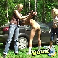 Chicks fucked boy by didlo in the wood