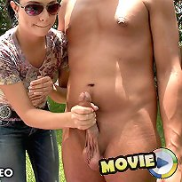 Topless cutie jerks off a monstersized cock 3