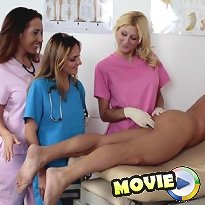 Three hot nurses tugging their patient dick