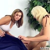Naked man jerked and caressed by dressed women