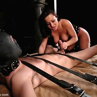 Mistress Sandra Romain fucks slave boy