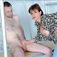 Mature milking naked male