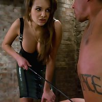 Nika Noire dominates muscle chap and bonks his arse with belt on