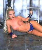 Porn star Sylvia Saint inserting huge dildo toy