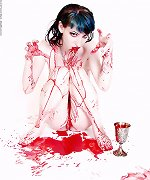 Pierced vampire chick gets drunk on blood