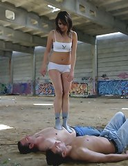 Mistress humiliated and trampled two malesubs outdoor