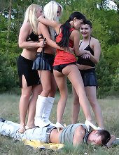 Group outdoor trampling