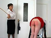 Red ass spanking and caning