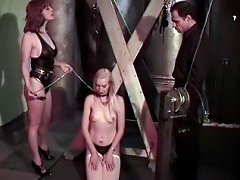 Blonde slave slapped and whipped