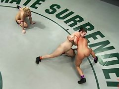 Non-scripted Brutal leg locks, scissor holds, & double teaming, helpless girls fingered on the mat